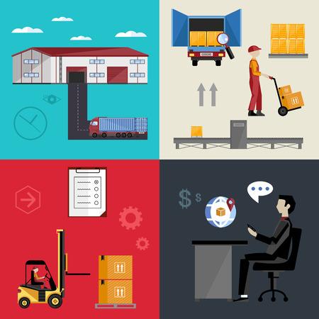 proceso: Infografía almacenaje, logística y procesos de negocio. El proceso de gestión del transporte marítimo y de carga. Ilustración vectorial de piso. Vectores