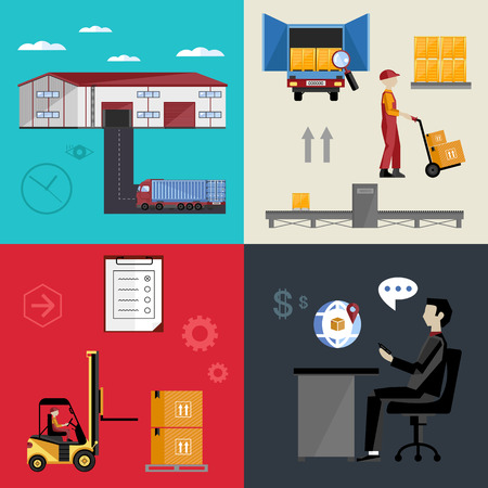 warehousing: Infographics warehousing, logistics and business processes. The process of shipping and cargo management. Vector illustration of flat.