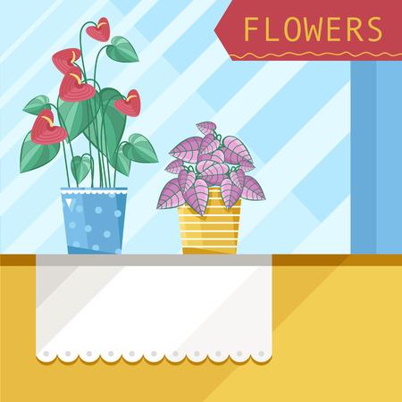 windowsill: Two plants are home on the windowsill.