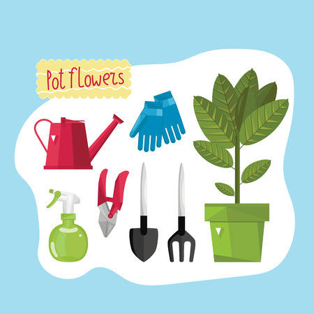 growing flowers: Set for home gardening and growing flowers. Lake, gloves, spray and other tools.  Vector illustration.