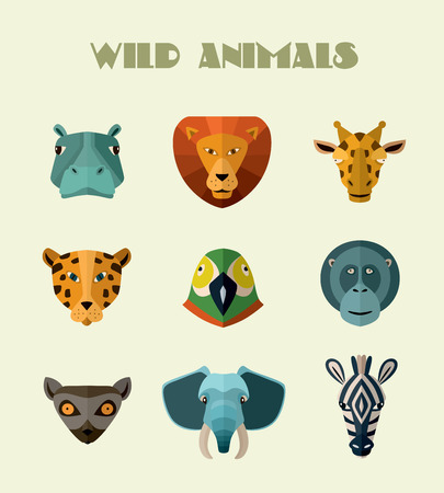 userpic: Big set of vector icons of wild animals with different muzzles. Vector illustration for web or mobile application to select userpic.