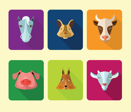 userpic: Vector illustration of farm animals, pig, horse, cow and others for web or mobile application to select userpic.