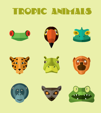 userpic: Vector illustration of tropical animals, monkey, jaguar and other. Illustration