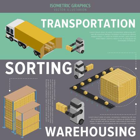 robot: Izometryczny Infografika zarządzanie magazynem i logistyką. Proces ten jest sterowany robotów.