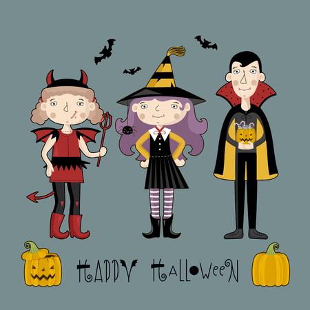 Moonlight lanterns: Little girls and boy in halloween costum. With text Happy Halloween.