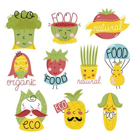 eco icons: Vector illustration icons of eco, bio, organic of cartoon style. Illustration