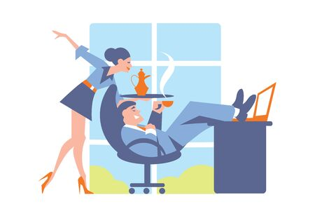 happy office: Abstract business concept of happy office life. Big boss and secretary. Fashion vector illustration. Suitable for magazines, web design and print production.