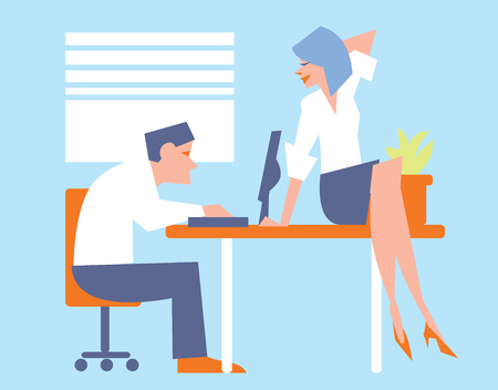 happy office: Abstract business concept of happy office life. The woman flirts with a man at the computer. Fashion vector illustration. Illustration