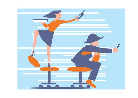 happy office: Abstract business concept of happy office life. Staff have fun with phones on the chairs in the hat of Napoleon. Fashion vector illustration. Illustration