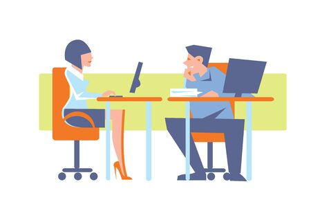happy office: Abstract business concept of happy office life. The man flirts with a woman at the computer. Fashion vector illustration. Illustration