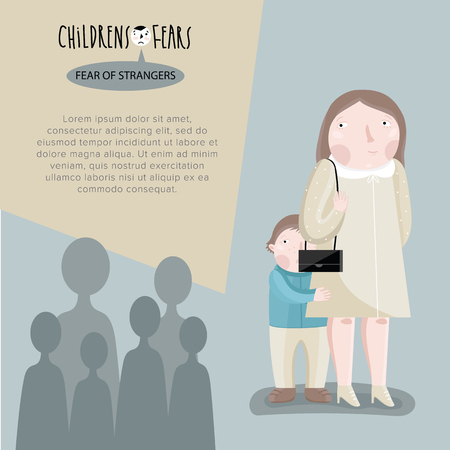 fear illustration: Childrens fears. Fear of crowds or fear of strangers. Vector illustration.