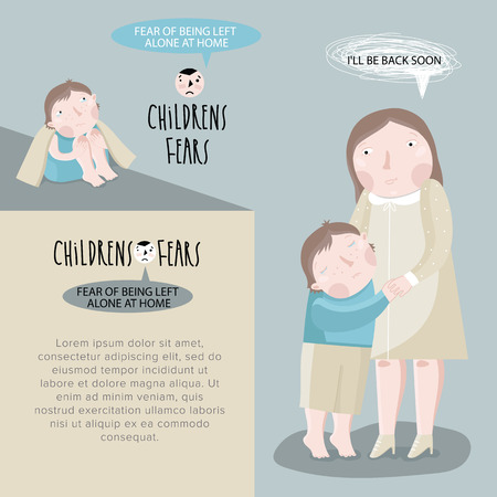 fear: Childrens fears. Fear of staying home alone. Vector illustration.