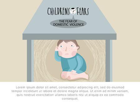 violencia familiar: Los temores de los ni�os. El temor a la violencia dom�stica. Ilustraci�n del vector.