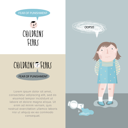 fear: Childrens fears. The fear of punishment for wrongdoing. Vector illustration. Illustration