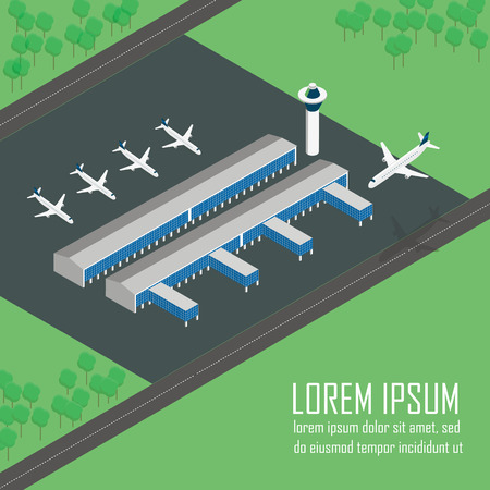 parked: Airport Terminal with parked aircraft in vector isometric view.