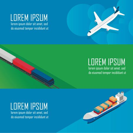 sea transport: A series of vector banners about the logistics, air transport, railway transport and delivery cargoes by sea. Isometric vector.