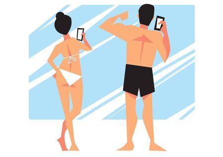 young girl bikini: Young girl in bikini and her boyfriend do selfie on the background of the mirror.