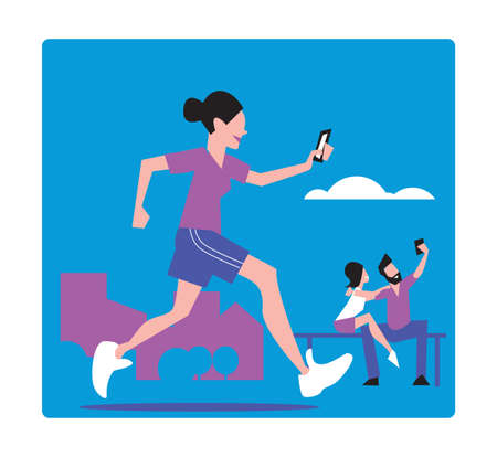 girl at phone: Young girl jogging makes Selfie. Vector illustration.