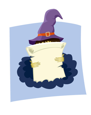 paper scroll: Paper scroll with space for text about the Halloween holiday. Illustration