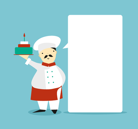 whose: Blank bubble with the cook in whose hands the cake. Illustration