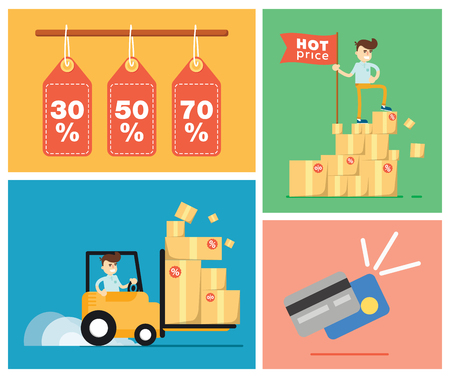 discount card: Set of discount sale illustration elements template for website, printed materials or mobile apps Illustration