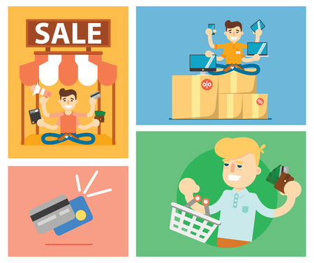 stock illustrations: Set of discount sale illustration elements template for website, printed materials or mobile apps Illustration