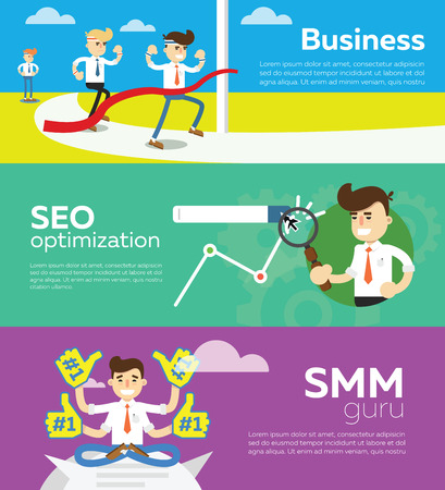 smm: SMM and SEO social media concept flat banners set of processes search engine optimization for websites, mobile application and printed materials. Click infographics elements. Illustration