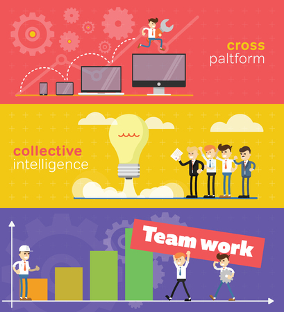 teamwork together: A set of banners for the web or mobile application about the business concept of teamwork. Illustration
