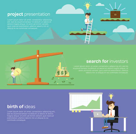 sucess: Flat design modern vector illustration banners of start up new business ideas, sucess, creative elements for website or mobile apps.