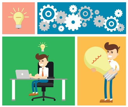 new business: Flat design modern vector illustration of start up new business ideas, succed for website, printed materials and mobile apps.