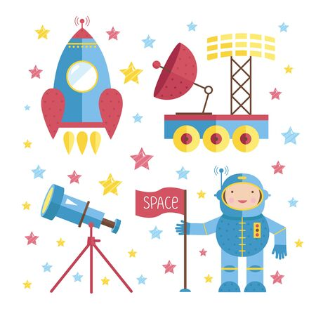 sonne mond und sterne: Set of cartoon space object. Vector illustration. Good for use in book illustration, childrens comics, Web and print production.