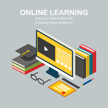 Isometric design vector linear illustration concepts of  online learning, distance education or online training courses. For Web sites and print materials.