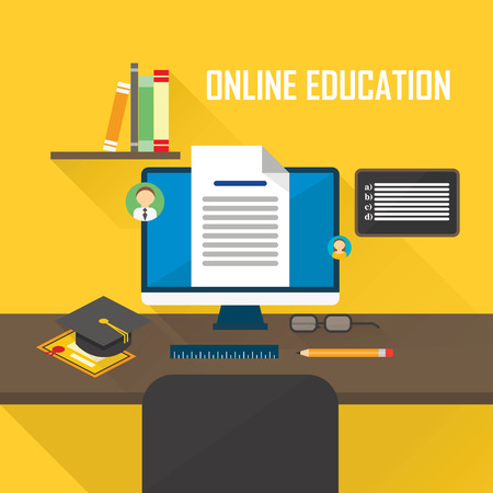 learning concept: Flat design vector illustration concept of online learning, distance education or online training courses. For Web sites and print materials. Illustration