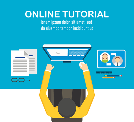 Flat design vector illustration concept of online learning, distance education or online training courses. For Web sites and print materials. Vettoriali