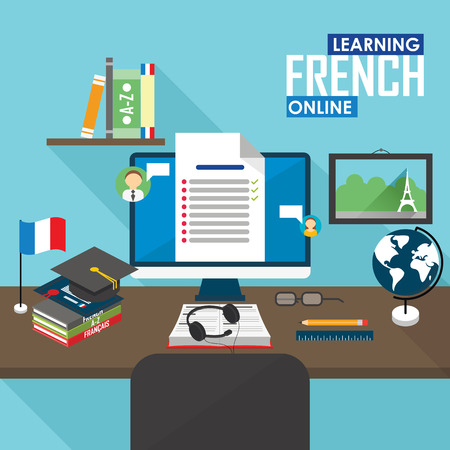 Flat design vector illustration concept of learning French language online, distance education and online training courses.