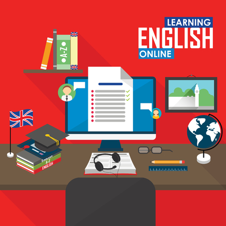 in english: Flat design vector illustration concept of learning English language online, distance education and online training courses.