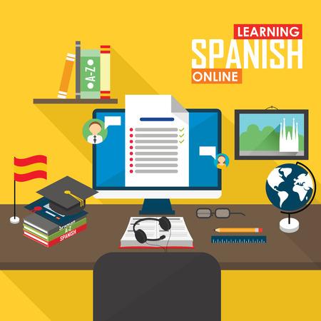 フラットなデザインのベクトル図概念学習スペイン語オンライン、遠隔教育、オンライン トレーニング コース。