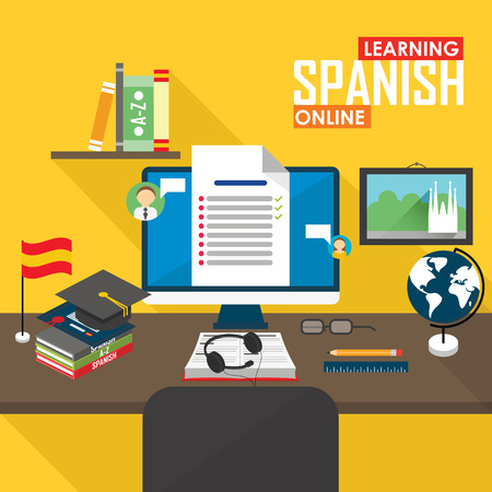 spanish language: Flat design vector illustration concept of learning Spanish language online, distance education and online training courses.