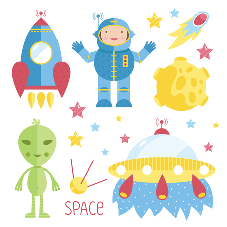 cohetes: Conjunto de objeto espacial de dibujos animados. Ilustración del vector.