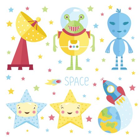 sonne mond und sterne: Set of cartoon space object. Vector illustration.