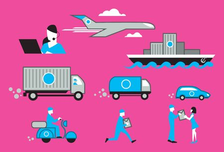 movers: Infographic of Delivery service process. Vector illustration. Illustration
