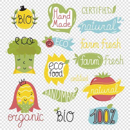 Vector illustration icons of eco, bio, organic of cartoon style. Illustration