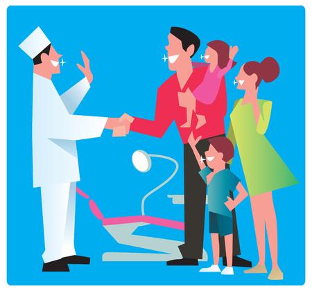 odontologo: Familia feliz con un dentista sonrisa espumosos gracias por el buen trabajo.