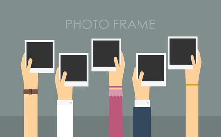 Polaroid photo frame template. Colorful Vector illustration Vectores