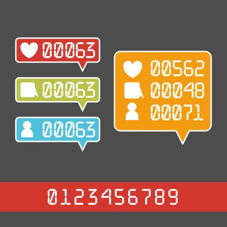 notification: Vector Like Counter Notification Icons Set on ribbons and labels Illustration