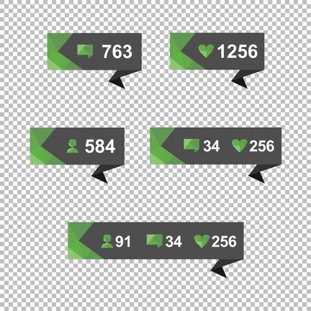 알림: Vector Like Counter Notification Icons Set on ribbons and labels 일러스트