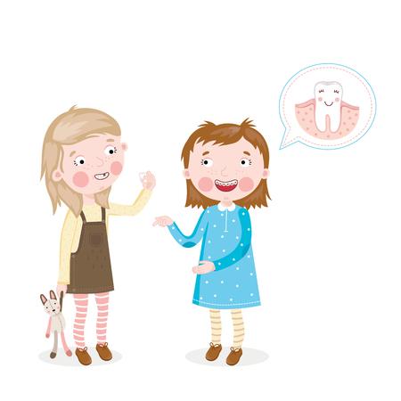 muela: La niña muestra las paréntesis en los dientes de las otras chicas, que perdió un diente Vectores