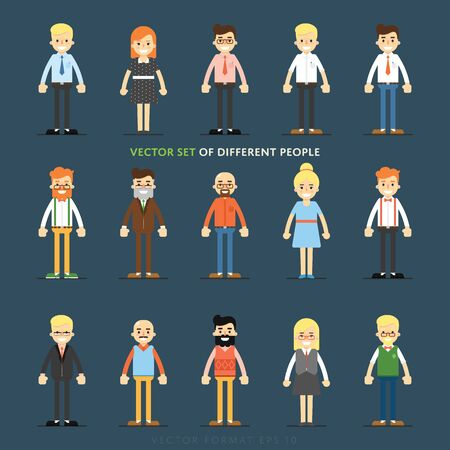 user profile: Set of diverse isolated vector people full lenth