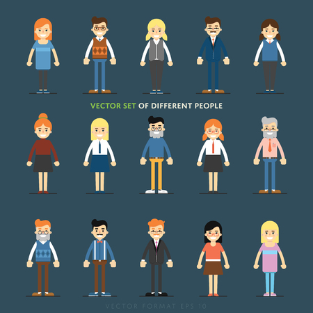 profile: Set of diverse isolated vector people full lenth