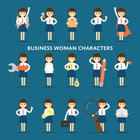 Set of diverse isolated vector office people full lenth Illustration